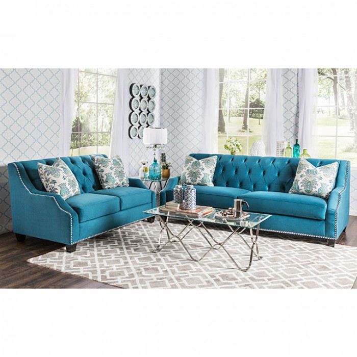 Celeste Azure Blue Premium Velvet Fabric 2Pcs Sofa - Shop for ...