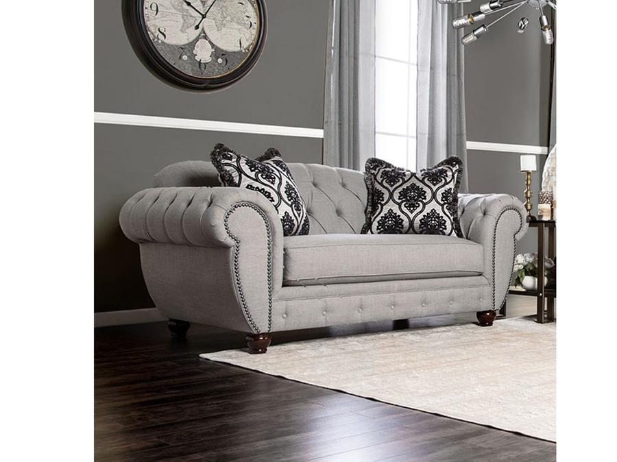 Viviana Modern Victorian Style Gray Fabric Sofa Couch
