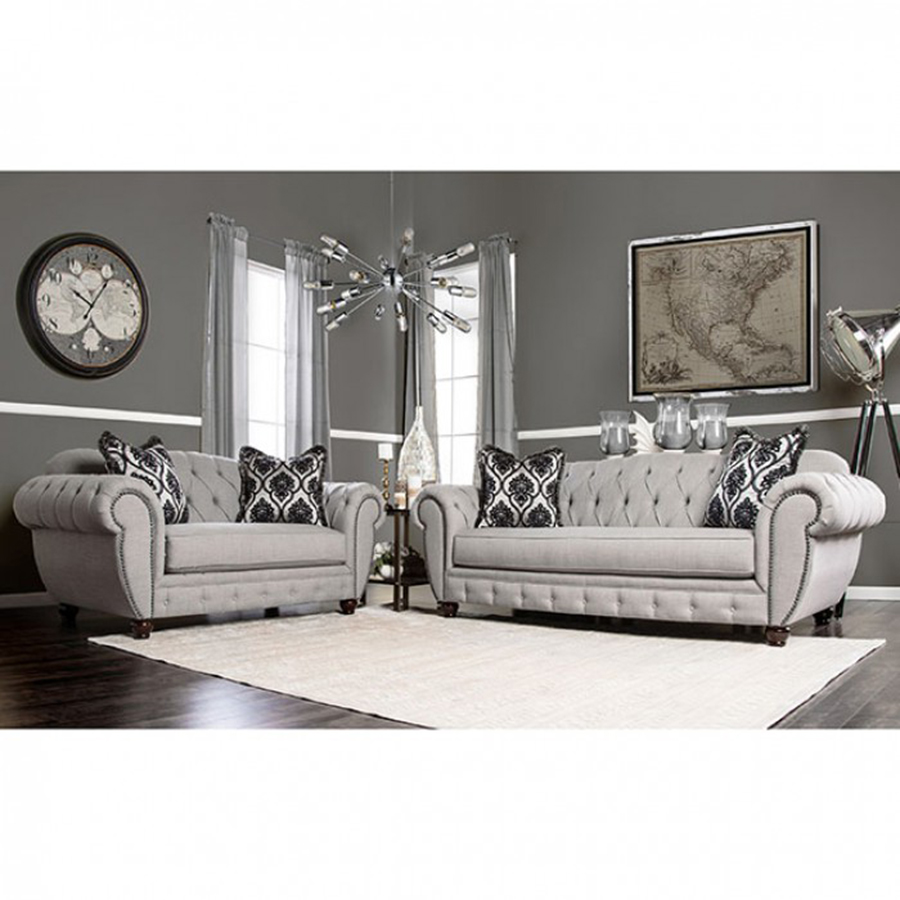 Viviana Modern Victorian Style Gray Fabric 2Pcs Sofa Set - Shop for ...