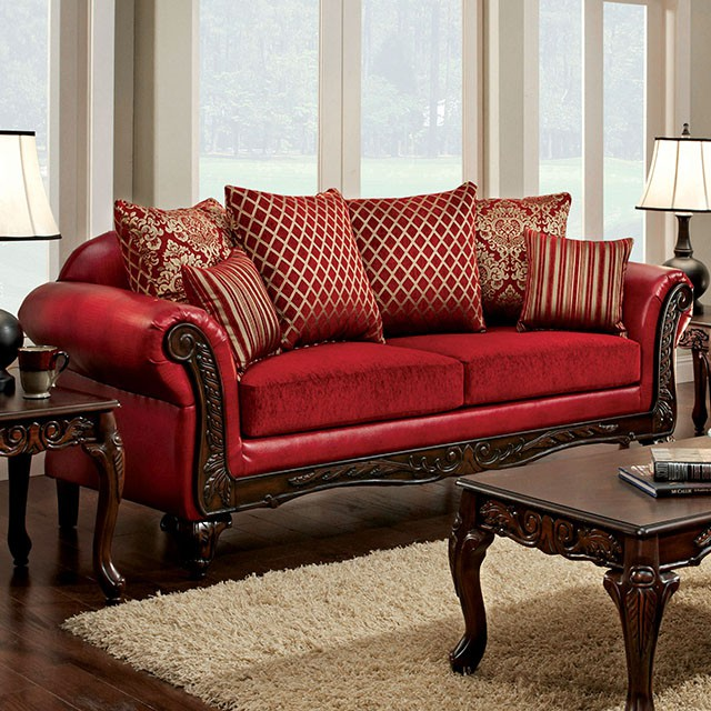 Marcus Traditional Style Red Leatherette Fabric 2pcs Sofa Set