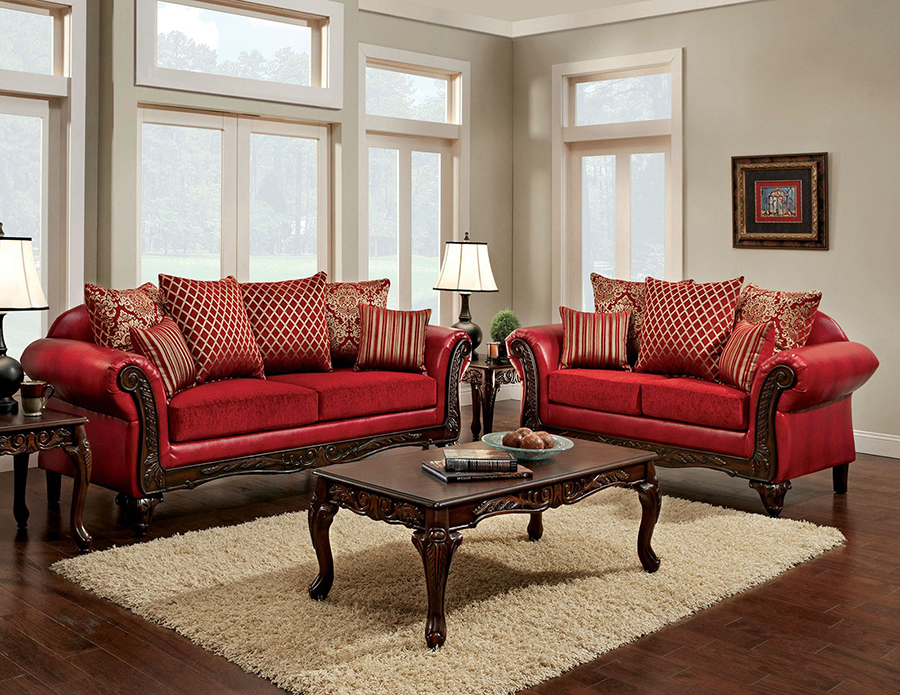 Marcus Traditional Style Red Leatherette Fabric 2Pcs Sofa Set - Shop ...