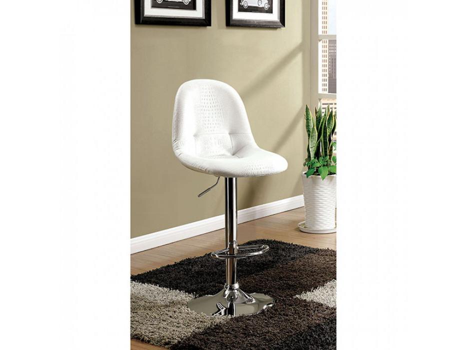 Shea Contemporary White Chrome Bar Chair