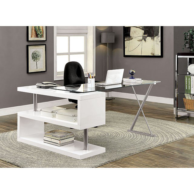 Bronwen Contemporary White Finish Metal Wood Desk Shop
