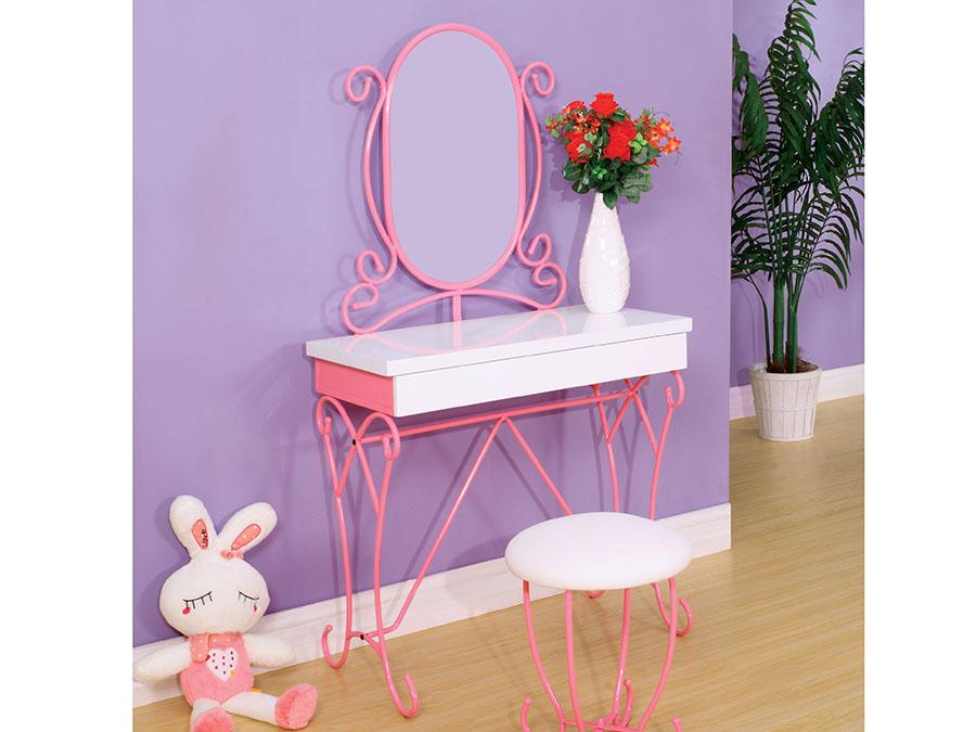 white metal vanity set.  Enchant Transitional Pink White Metal Vanity Set