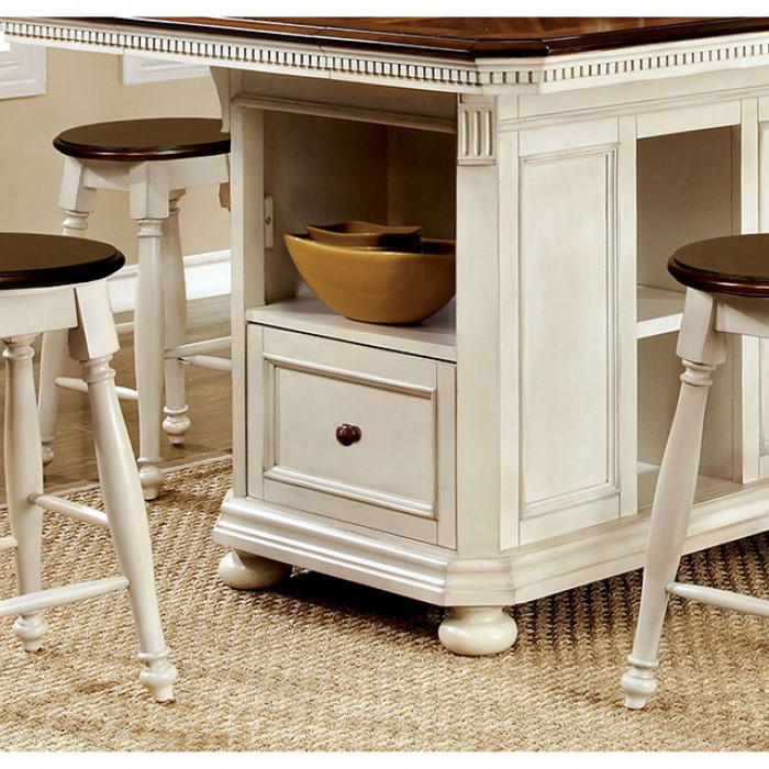 Sabrina Transitional White And Cherry Counter Height Table Set & Sabrina Transitional White And Cherry Counter Height Table Set ...