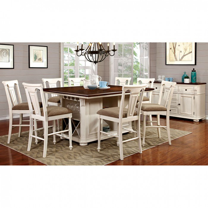 Sabrina Transitional White And Cherry Counter Height Table Set