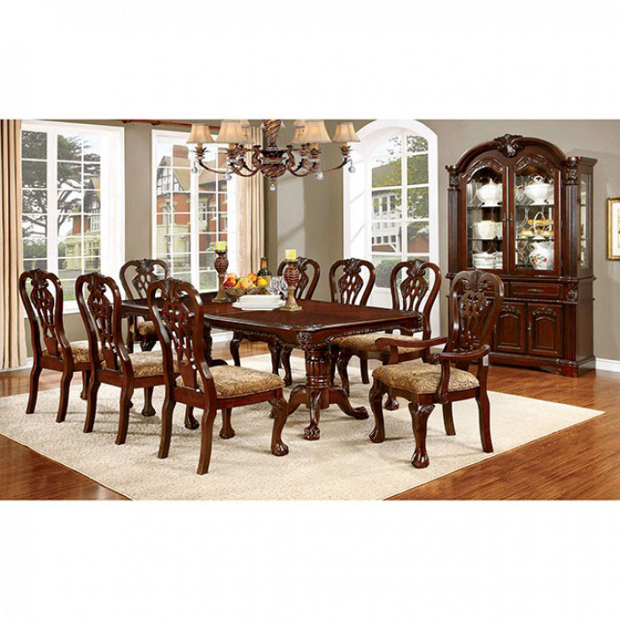 Elana Traditional Brown Cherry Finish Dining Table Set