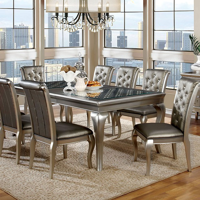 Amina Contemporary Silver Dining Set