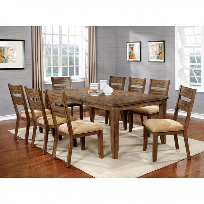 Ava Transitional Light Oak Finish Dining Table Set