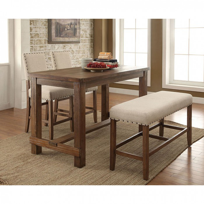 Sania Transitional Natural Tone Finish Counter Height Table Set