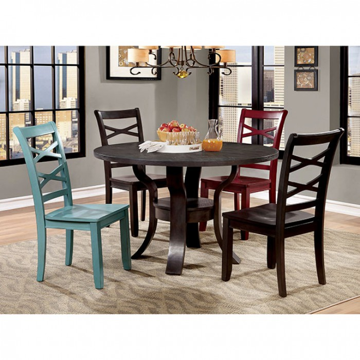Gisela Round Dining Set W/Red/Blue Chair
