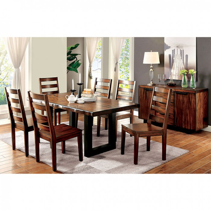 Maddison Contemporary Tobacco Oak Dining Table Set  sc 1 st  Muuduu Furniture & Maddison Contemporary Tobacco Oak Dining Table Set - Shop for ...