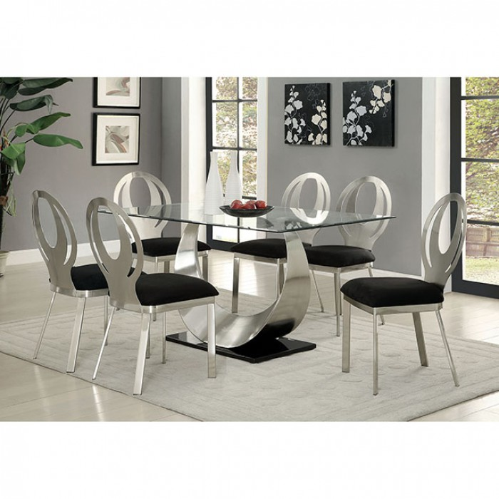 silver dining room set Orla Contemporary Silver And Black Dining Table Set   Shop for  silver dining room set