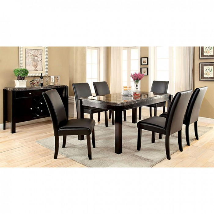 Gladstone I Contemporary Black Marble Top Dining Set