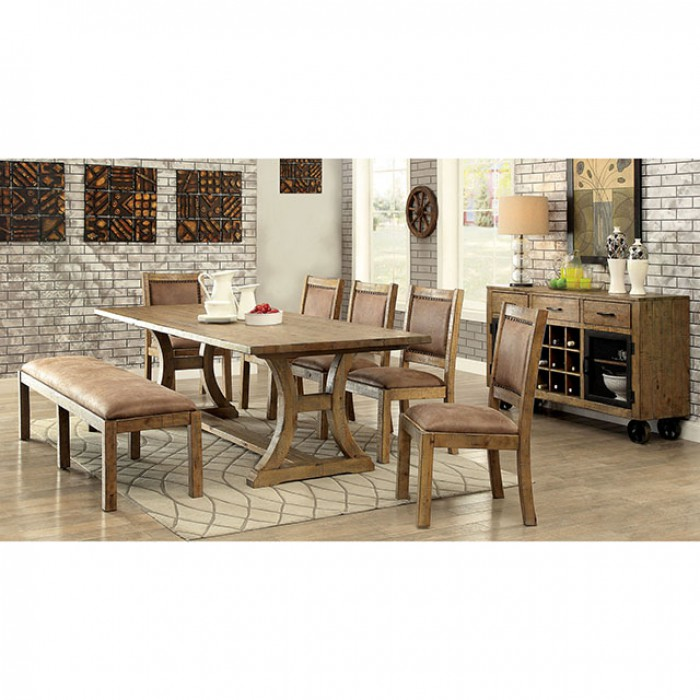 Gianna Transitional Style Rustic Pine Finish Dining Table Set ...