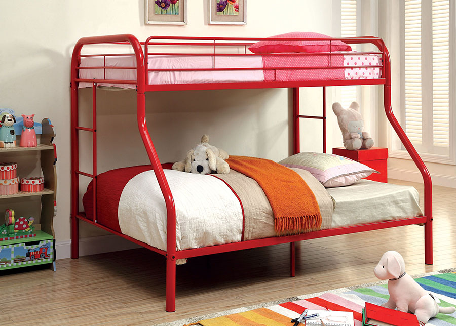 rainbow red metal twin over full bunk bed shop for affordable home furniture decor outdoors. Black Bedroom Furniture Sets. Home Design Ideas