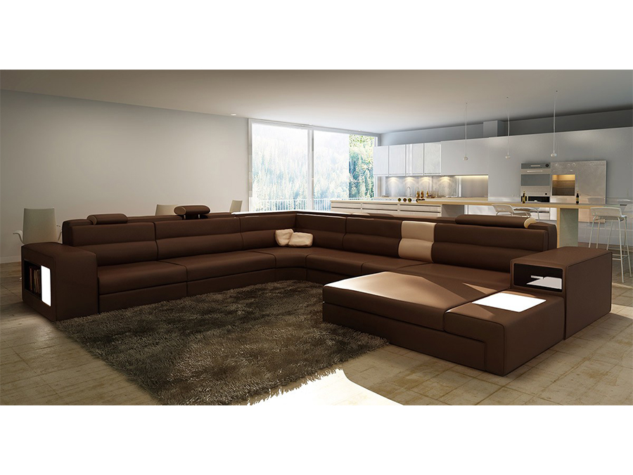 Exceptionnel Brown Leather Sectional Sofa