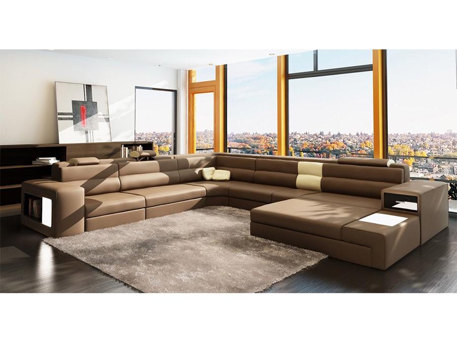 Polaris Brown Leather Sectional Sofa