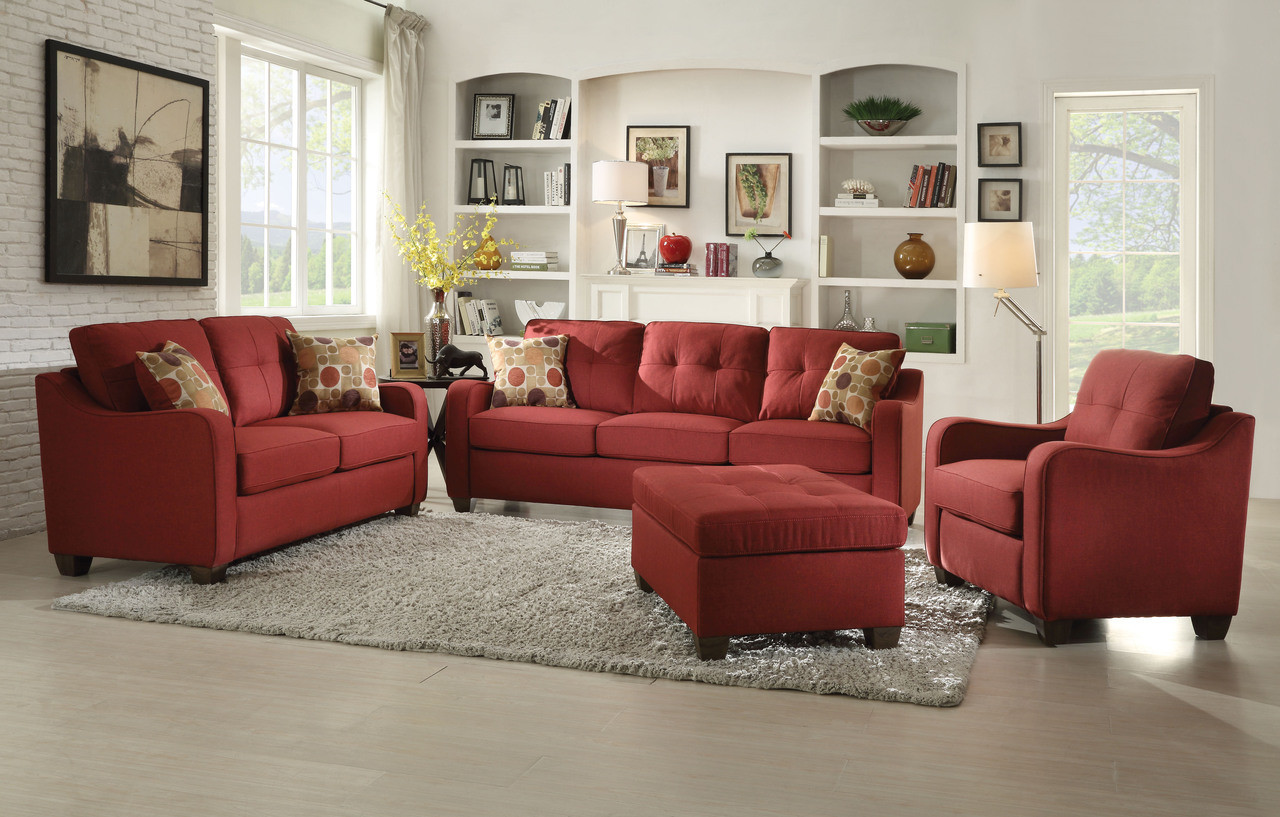 Cleavon Red Fabric Sofa Set