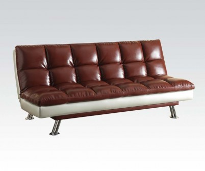 Baka Dark Red PU Futon Sofa Bed