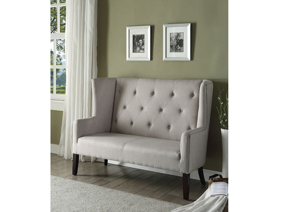 Exceptional Najia Beige Fabric Settee Chair