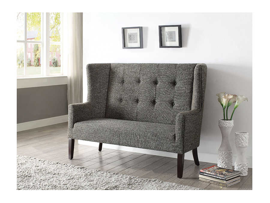 Captivating Najia Gray Fabric Settee Chair