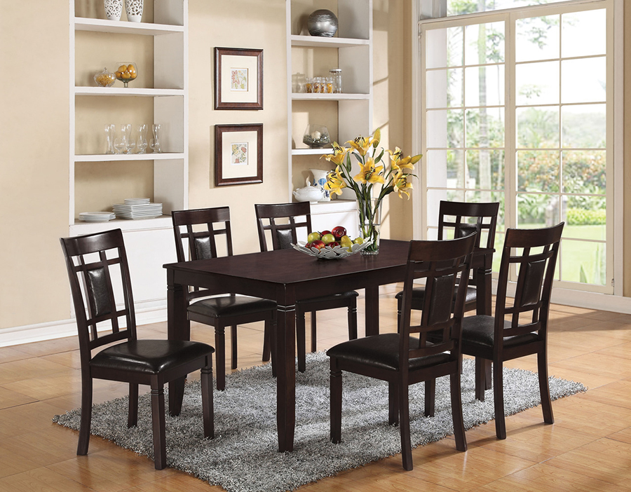 Sonata Espresso 7Pcs Pack Dining Table Set