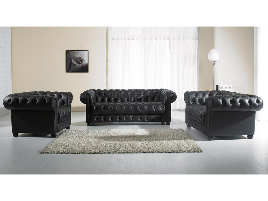 Black Tufted Leather Sofa Set
