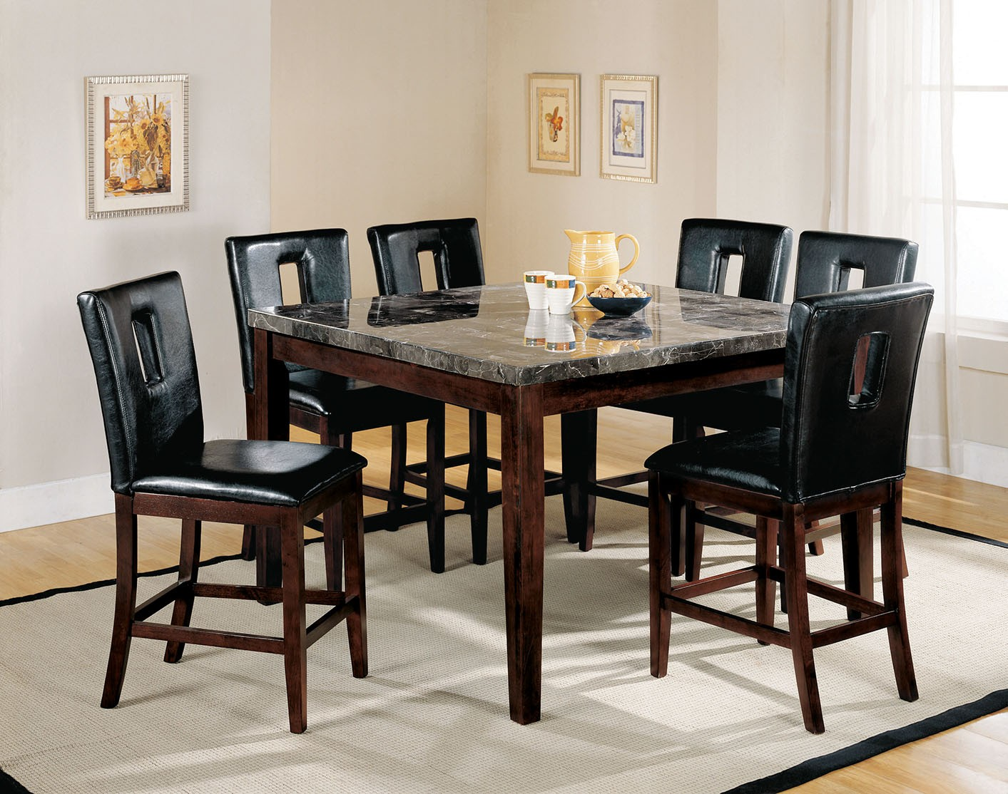 Danville Black Marble Walnut Counter Height Dining Set