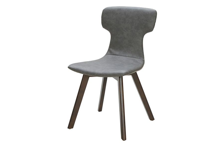 2pcs Dark Grey Eco Leather Dining Chair