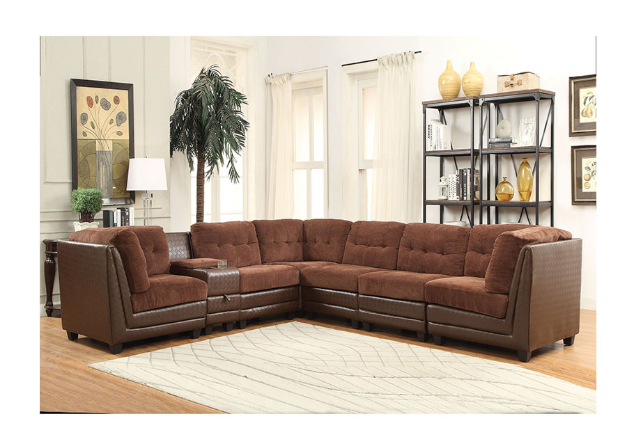 Vlord Brown Chenille PU Reversible Sectional Sofa