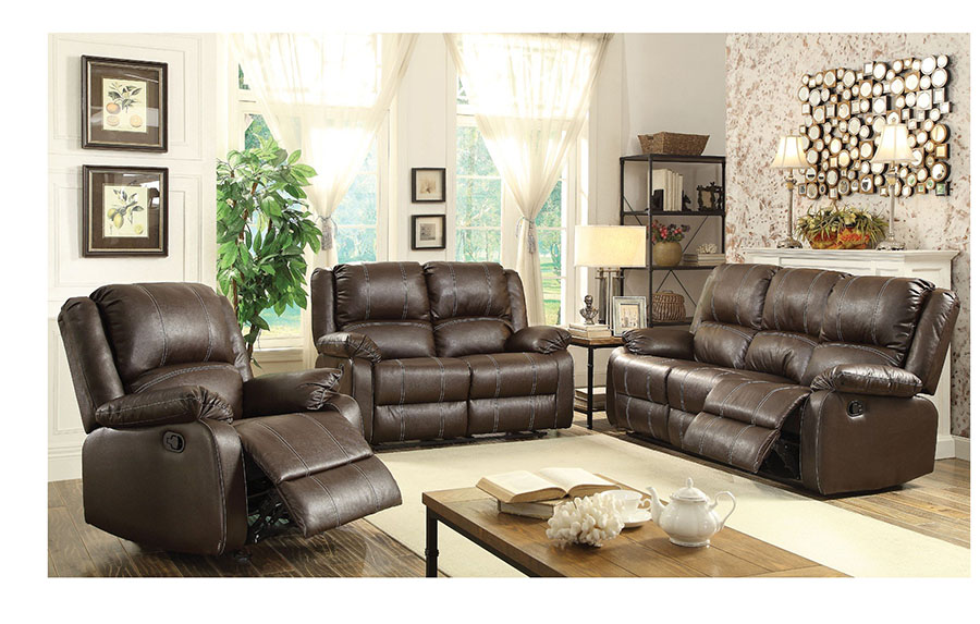 Zuriel Brown PU Leather Reclining Sofa Set