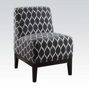 Hinte Dark Blue Chenille Accent Chair