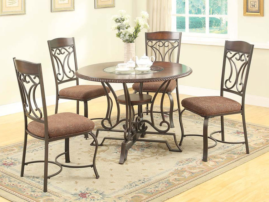 Jaimey Oak Round Metal Dining Table Set