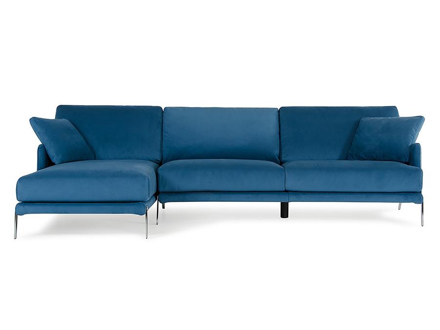 Blue Velvet Fabric Sectional Sofa