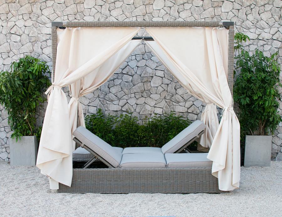 quinn outdoor beige canopy sunbed