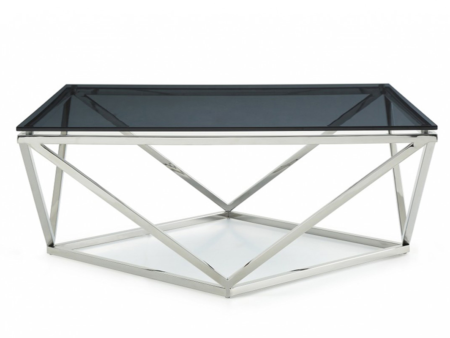 Marvelous Smoked Glass U0026 Stainless Steel Coffee Table