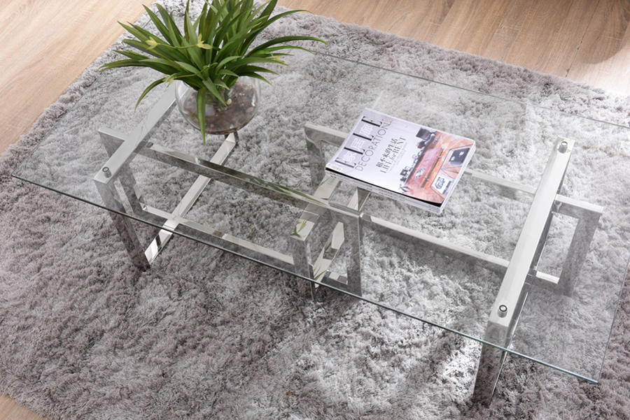 Glass U0026 Stainless Steel Coffee Table