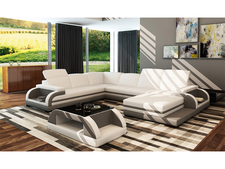 White U0026 Grey Bonded Leather Sectional Sofa