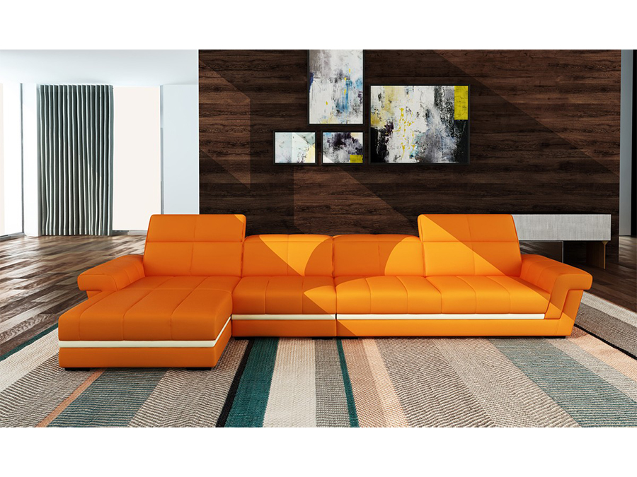 Orange White Bonded Leather Sectional Sofa Shop For Affordable
