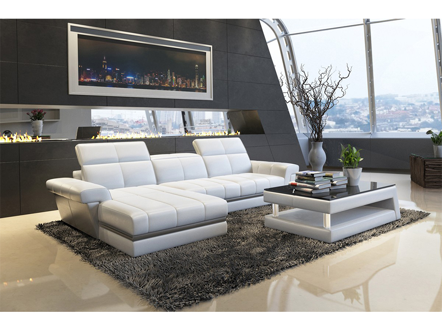White Grey Bonded Leather Sectional Sofa