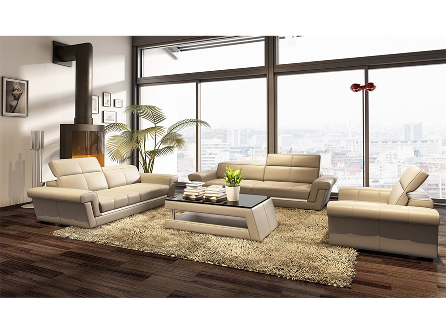 Beige Bonded Leather Sofa Set