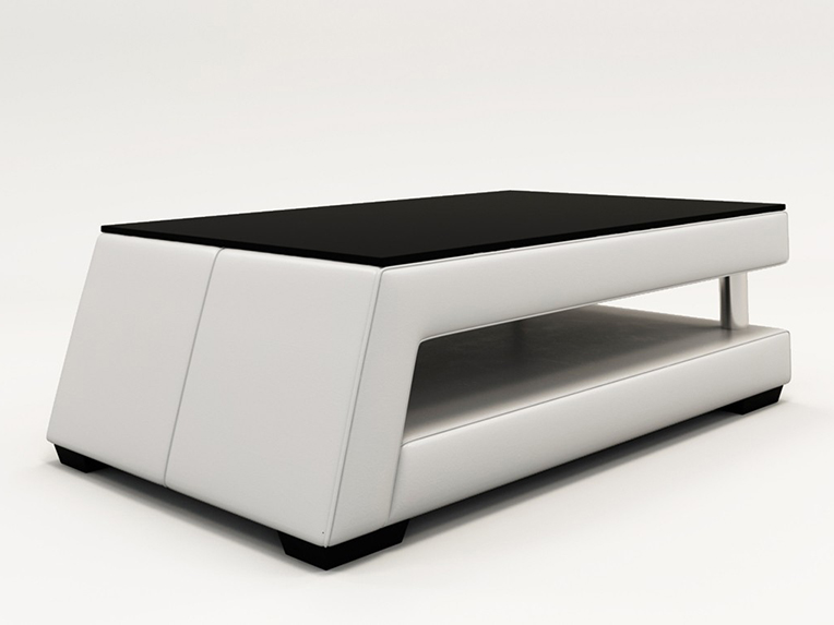 White Bonded Leather Coffee Table