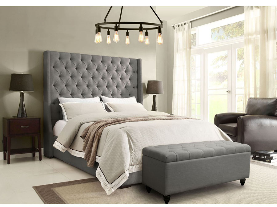 Park Avenue Grey Linen Bed - Shop for Affordable Home Furniture ...