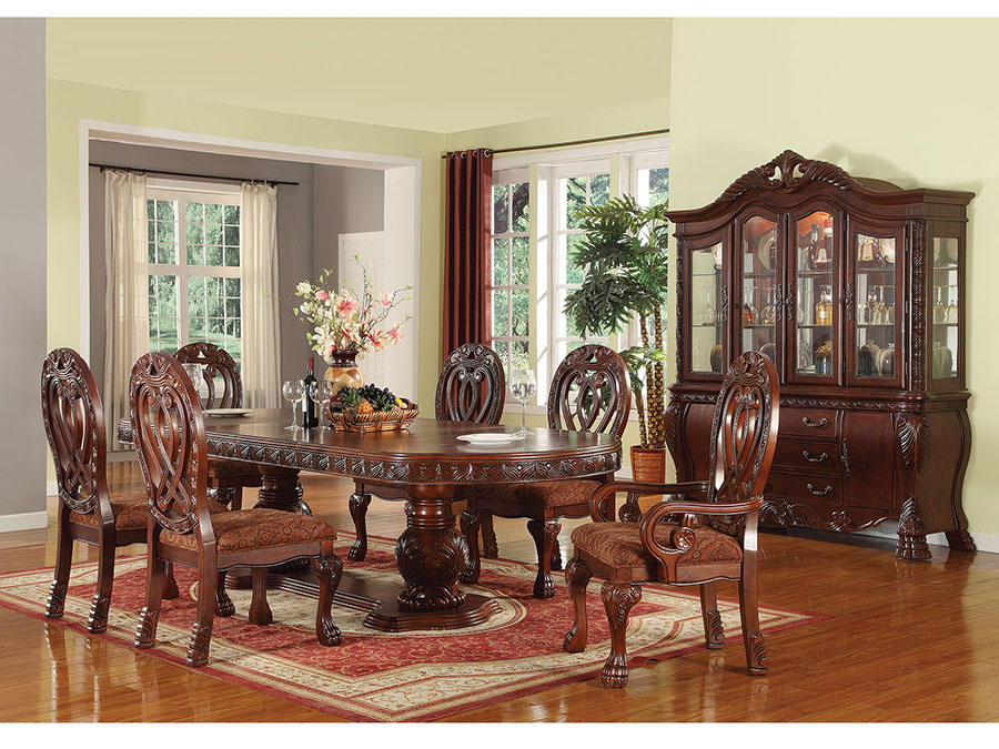 Quinlan Cherry Double Pedestal Dining Table Set Leaves