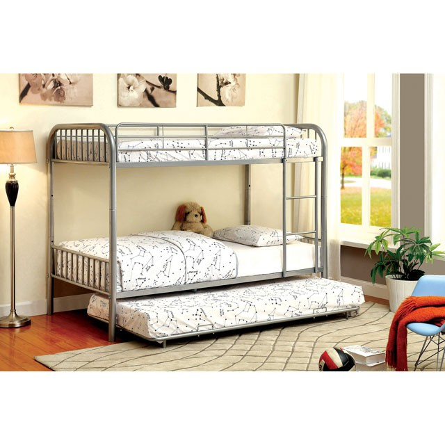 Rainbow Silver Kids Twin Over Bunk Bed With Trundle