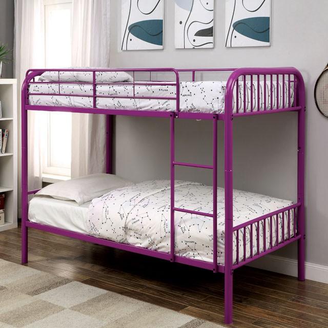 Rainbow Purple Kids Twin Over Bunk Bed