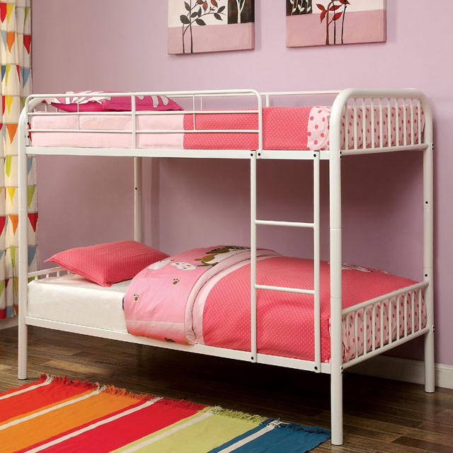 Rainbow White Kids Twin Over Twin Bunk Bed With Trundle Shop For