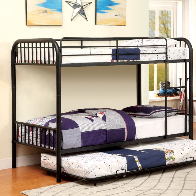 Rainbow Black Kids Twin over Twin Bunk Bed With Trundle   Shop for