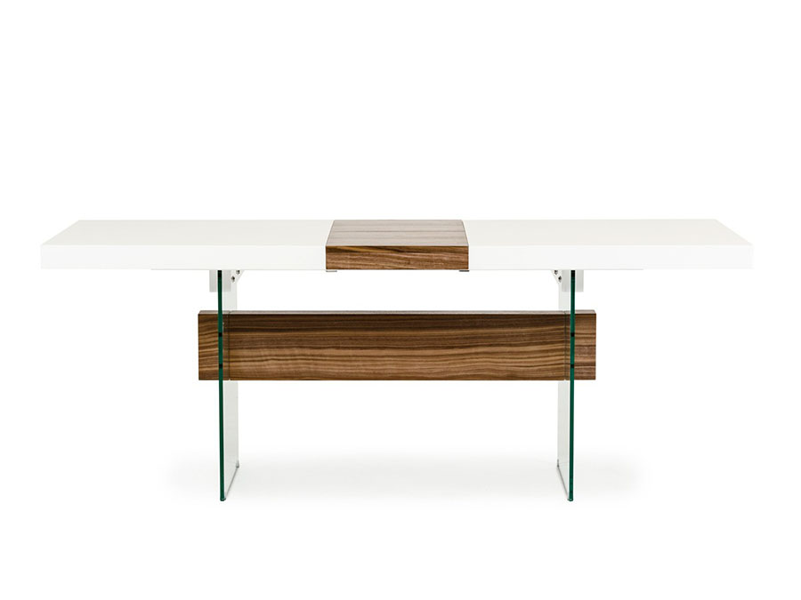 White Walnut Floating Extendable Dining Table